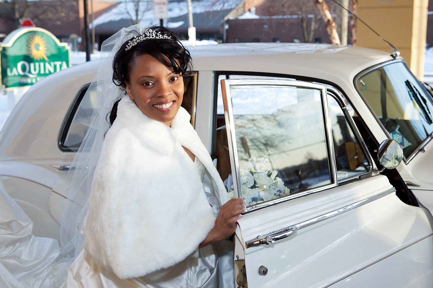 Bride at the limo