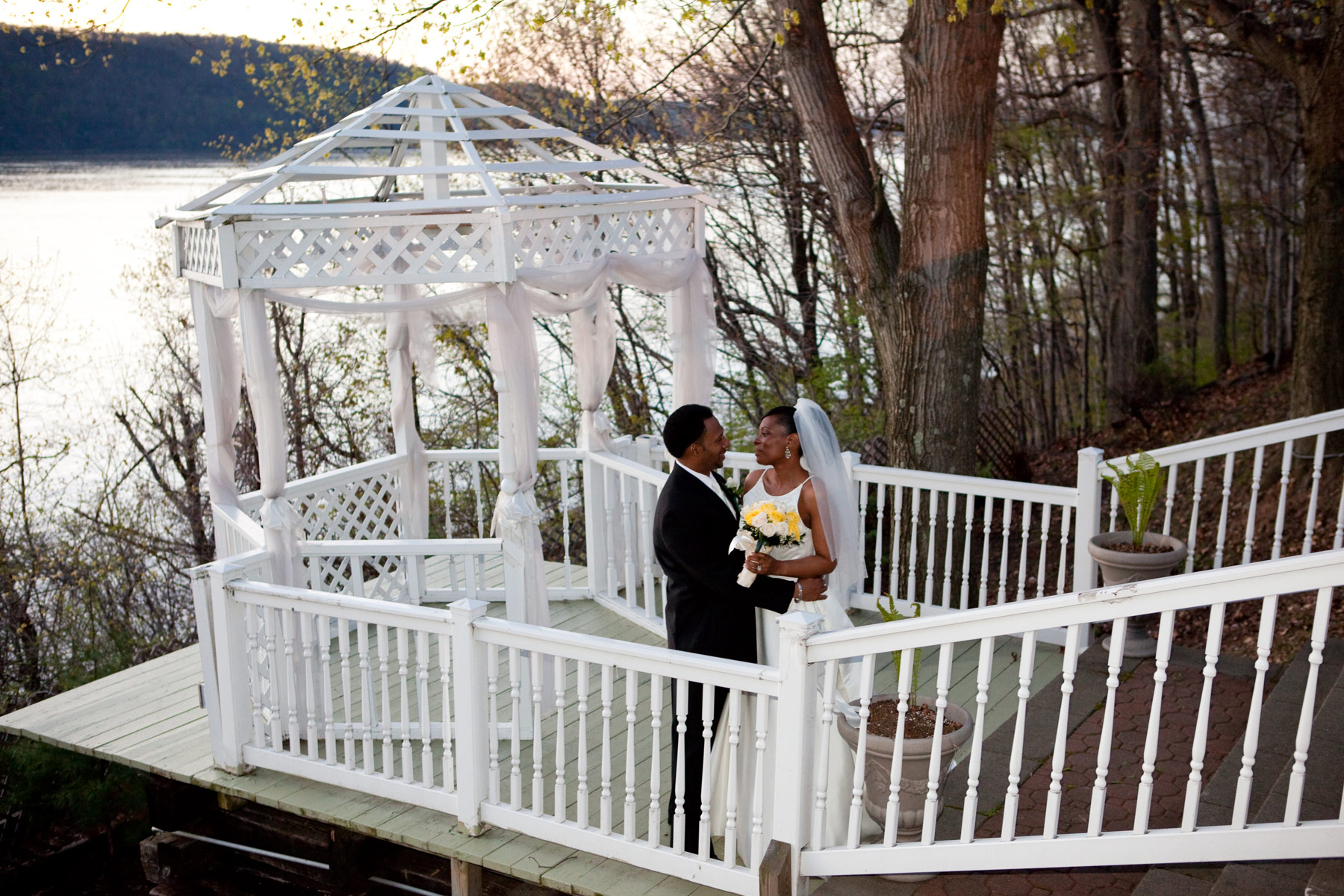 Bride and Groom at the gazebo