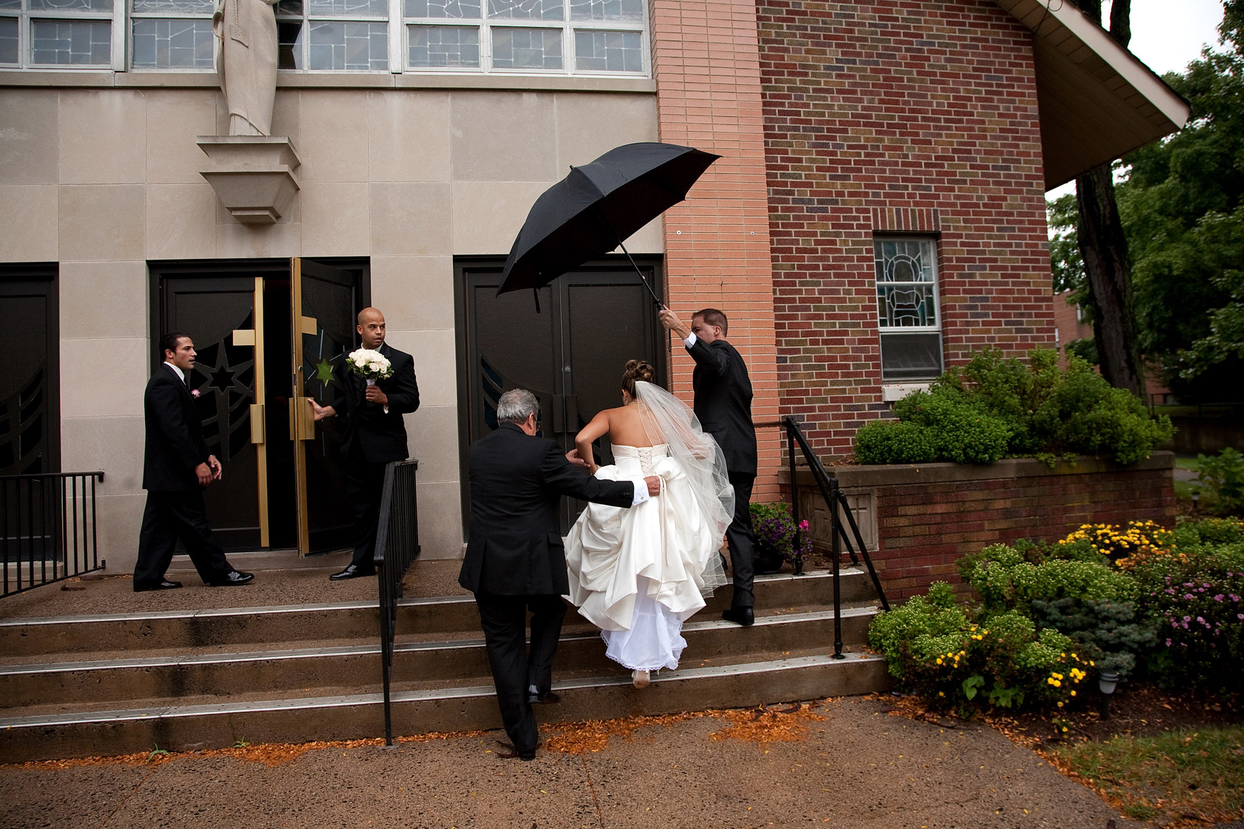 Bride going into the church